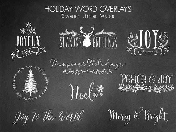 Digital Word Overlays Christmas