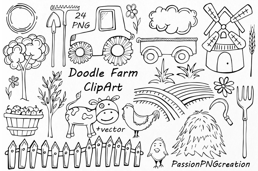 Doodle Farm Clipart ~ Illustrations ~ Creative Market