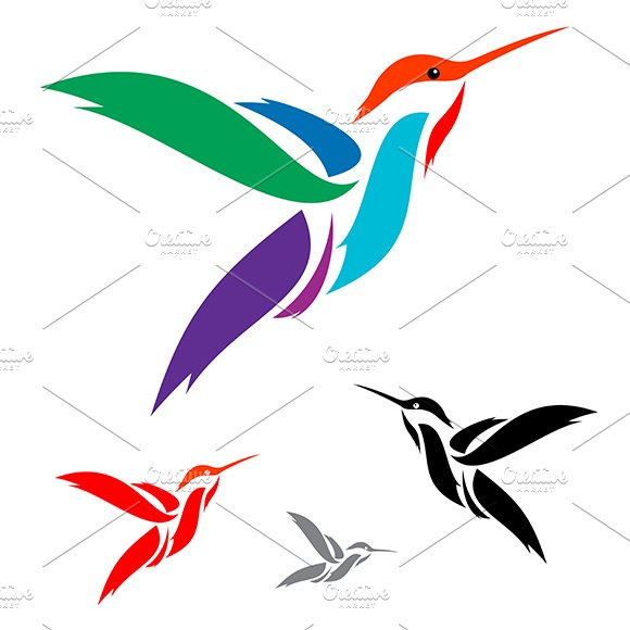 Isolated Abstract Humming Bird