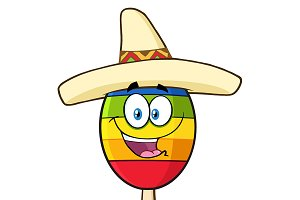 Mexican Maracas With Sombrero Hat