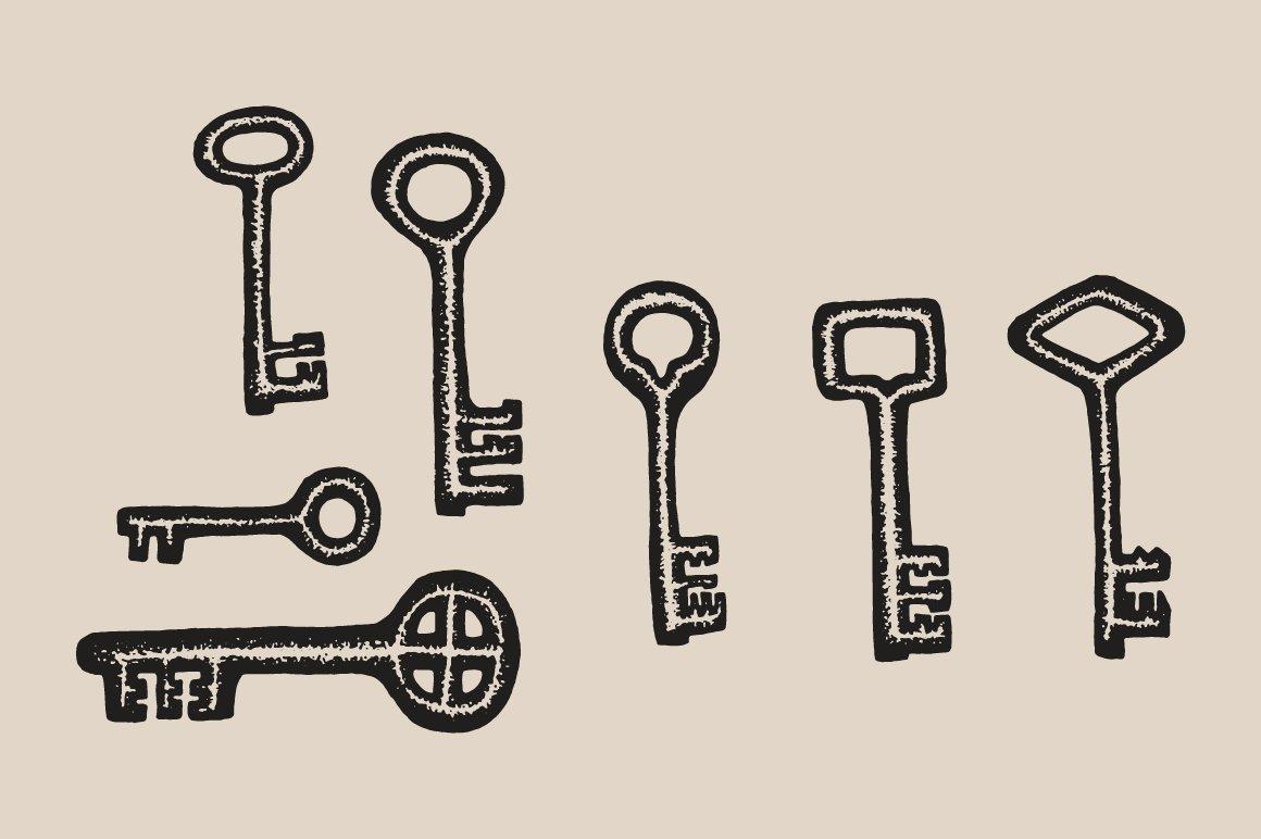 D Line Drawings Key : Key drawings illustrations creative market