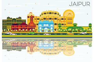 Jaipur Skyline with Color Buildings