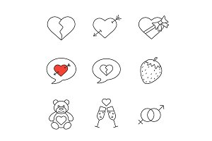 Valentine's Day. 9 icons. Vector