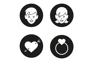 Valentine's Day. 4 icons. Vector