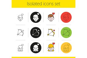 Valentine's Day. 12 icons. Vector