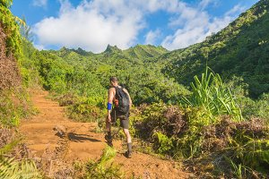 Hiker in Kalalau trail, Hawaii