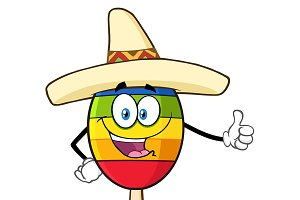 Mexican Maracas Giving A Thumbs Up