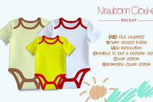 Newborn clothes mockup