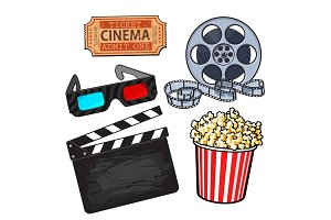 Cinema objects: popcorn bucket, film roll, ticket, clapper, 3d glasses