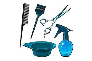 Hairdresser objects like scissors, brush, comb, coloring bowl, spray bottle