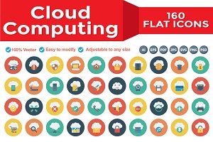 Cloud Computing Flat Circle Icons