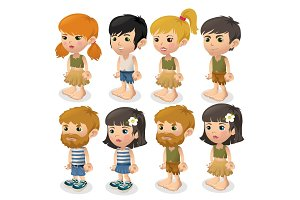 Vector set of boys and girls in summer clothes