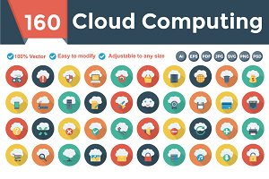 Cloud Computing Flat Circle Shadow