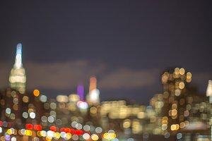 Blurred view of midtown Manhattan