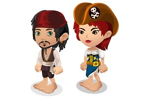 Man and woman in pirate clothes