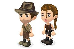 Male and female hunters