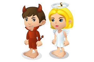 Boy and girl in costume of demon and angel