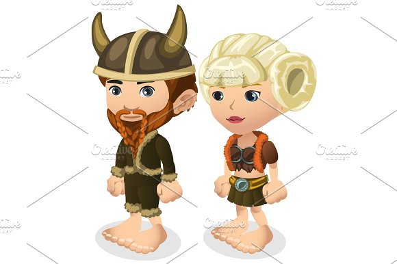 Man and woman in Viking costumes