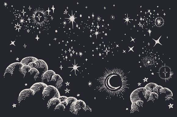star moon cloud sky drawings illustrations creative market