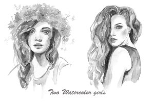 Beautiful watercolor girls