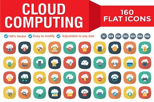 Cloud Computing Flat Square Shadow