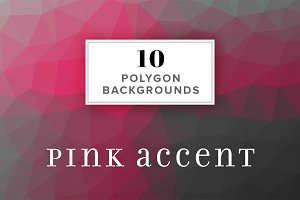 10 Polygon Backgrounds - Pink Accent
