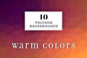 10 Polygon Backgrounds - Warm Colors