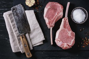 Raw Veal tomahawk steak