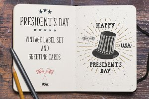 President's Day Vintage Labels v1