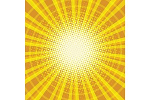 Yellow orange rays pop art retro vintage background