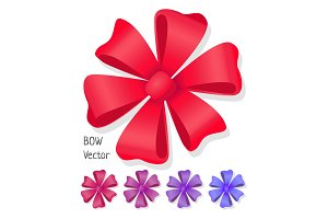 Bow Vector set. Luxury Flower Made from Ribbons.