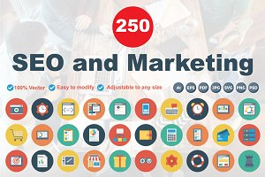 SEO & Marketing Flat Circle Icons
