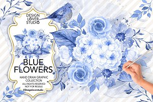Watercolor Blue Flowers design