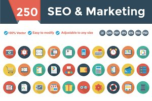 SEO & Marketing Flat Circle Shadow