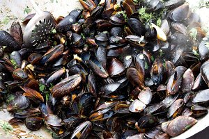 Cooking mussels.