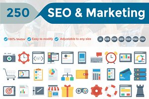 SEO & Marketing Flat Icons