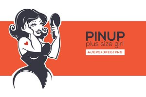Plus size Pinup girl and her mirror
