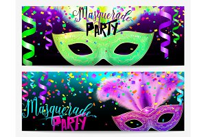 Vector illustration of two masquerade party flyer templates