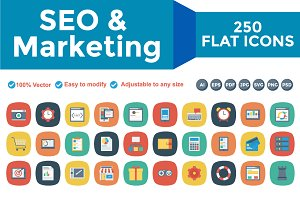SEO & Marketing Flat Square Icons