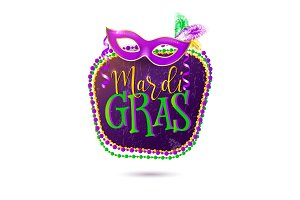 Vector illustration of Mardi Gras holiday greeting card