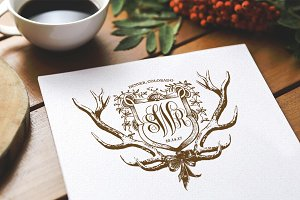 Shield and Antlers Wedding Monogram