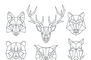 Low poly animals heads