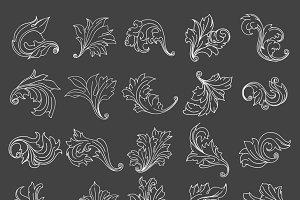 Vintage floral scroll ornament