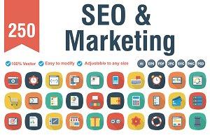SEO & Marketing Flat Square Shadow
