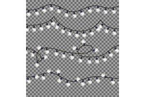 Garlands with Round Bulbs on Dark Background.