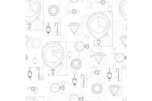Jewelry Production Sketch Seamless Pattern.