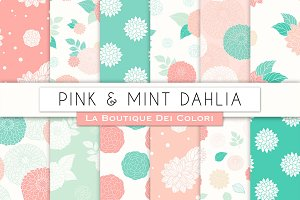Pink and Mint Dahlia Seamless Paper