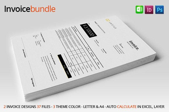 2 Simple Invoice Stationery Templates Creative Market