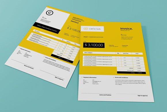 2 Simple Invoice Creative Indesign Templates Creative Market
