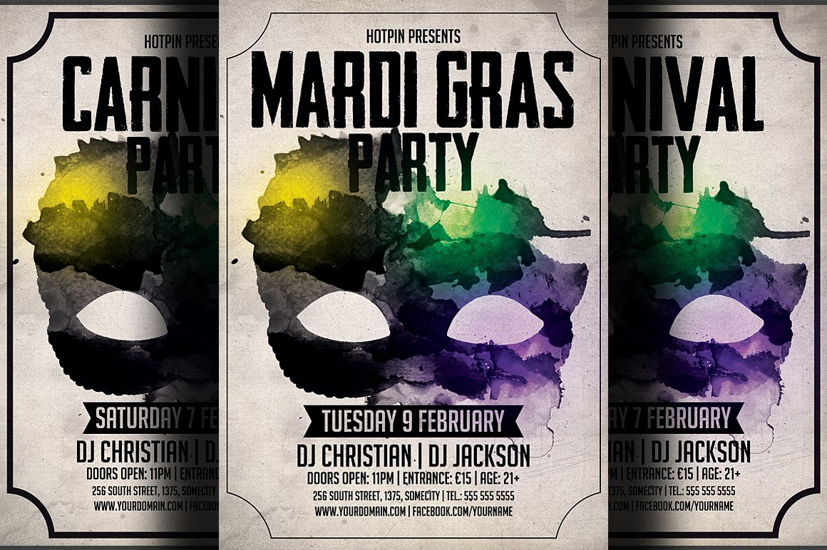 carnival mardi gras party flyer flyer templates on creative market